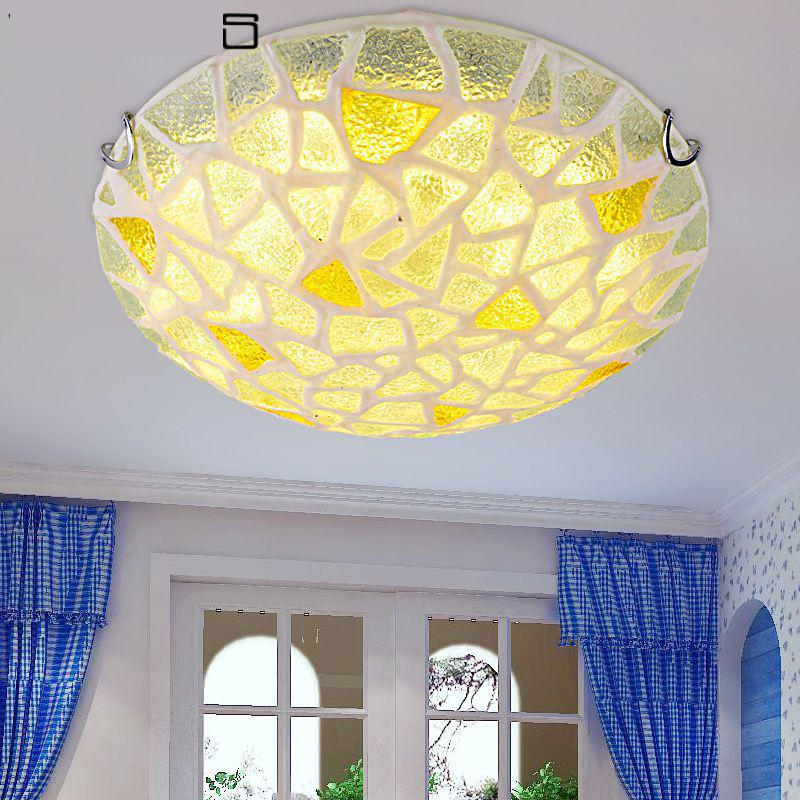Modern Mediterranean Sea Round Glass Ceiling Lights Fancy Ceiling - Fancy lights for bedroom
