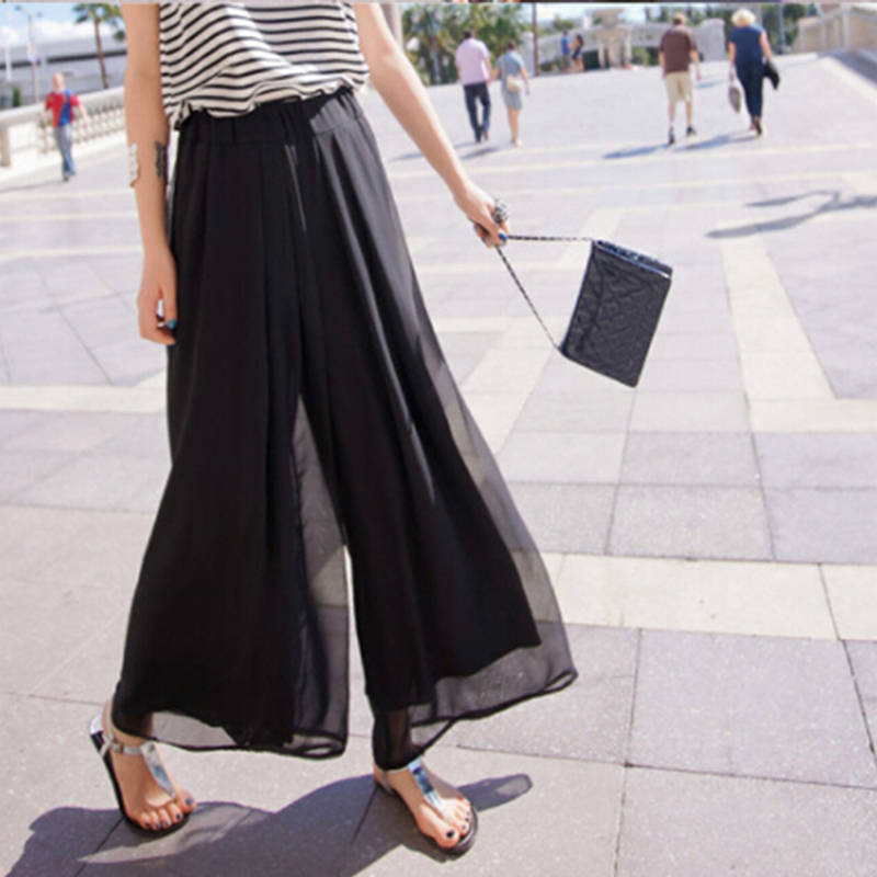 2018 New Women Sunmmer Fashion Pink Black One Size Pants Female Bohemian Casual Loose Wide Leg Pants Chiffon Trousers