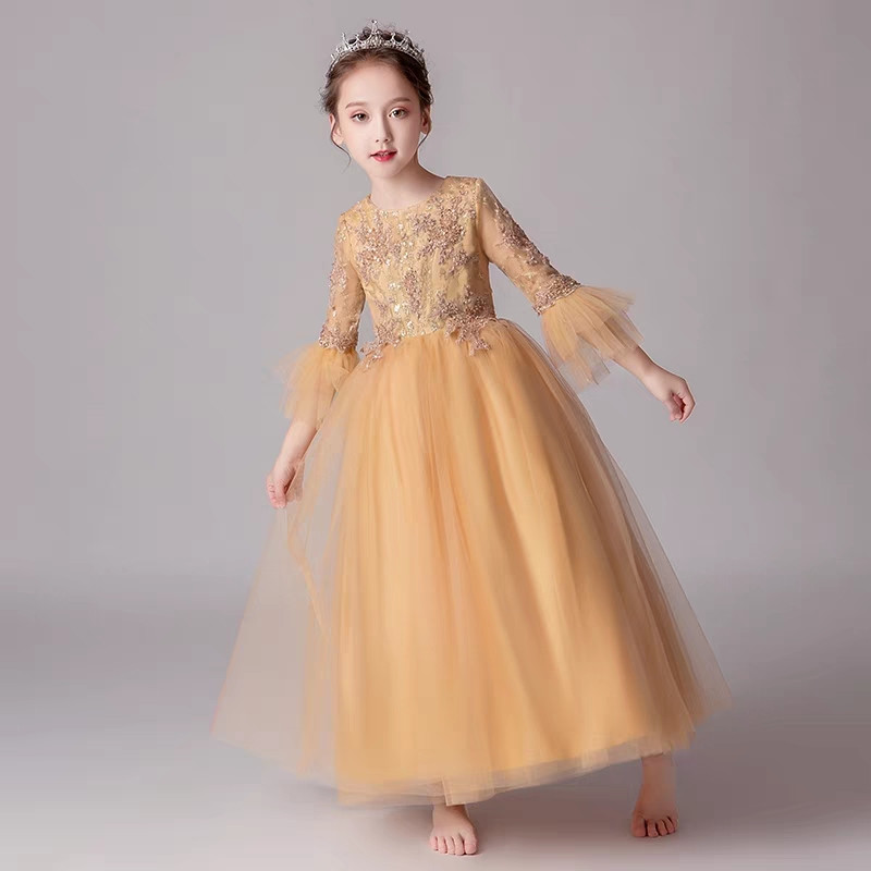 cab4ec9523e Good-Quality Kids Children Elegant Appliques Flowers Sequined Birthday  Wedding Party Princess Dress Girls Teens Host Long Dress