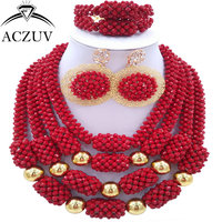 ACZUV Latest Nigerian Wedding Beads Opaque Red African Jewelry Set Luxury Bridal Jewellery Sets D4R005