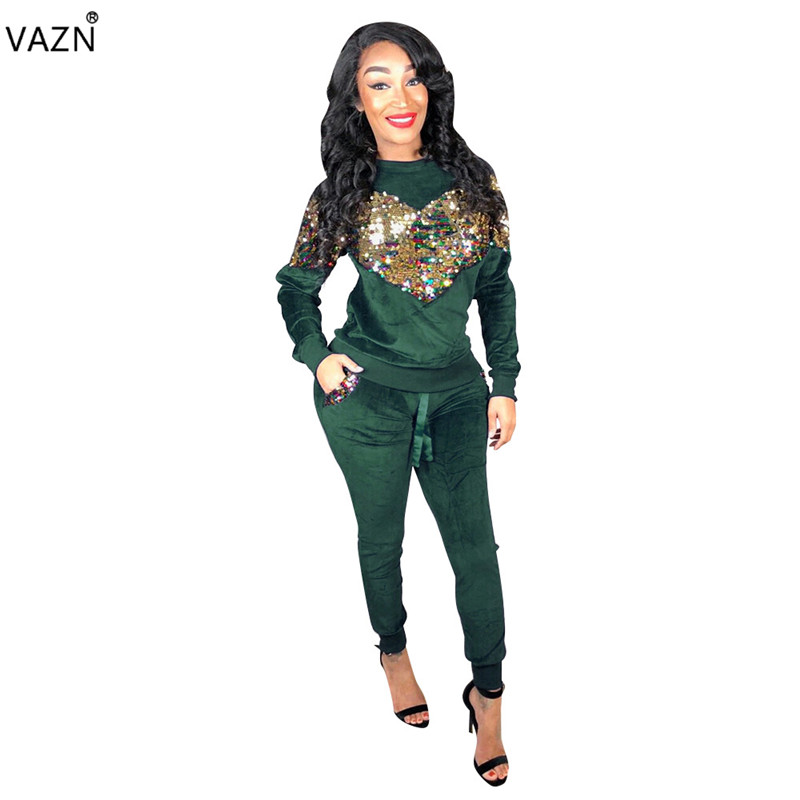 VAZN 2018 New Popular Sexy Women 2-Pieces Regular   Jumpsuit   Ladies Solid 5-Colors O-Neck Full Sleeve Sequined Long Romper CM278