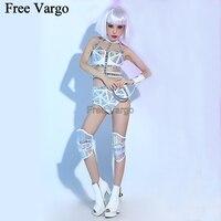 Голографическая Burning Man Сексуальная Лазерная костюмы из искусственной кожи фестиваль одежда в стиле рейв одежда шестерни Боди Одежда для та