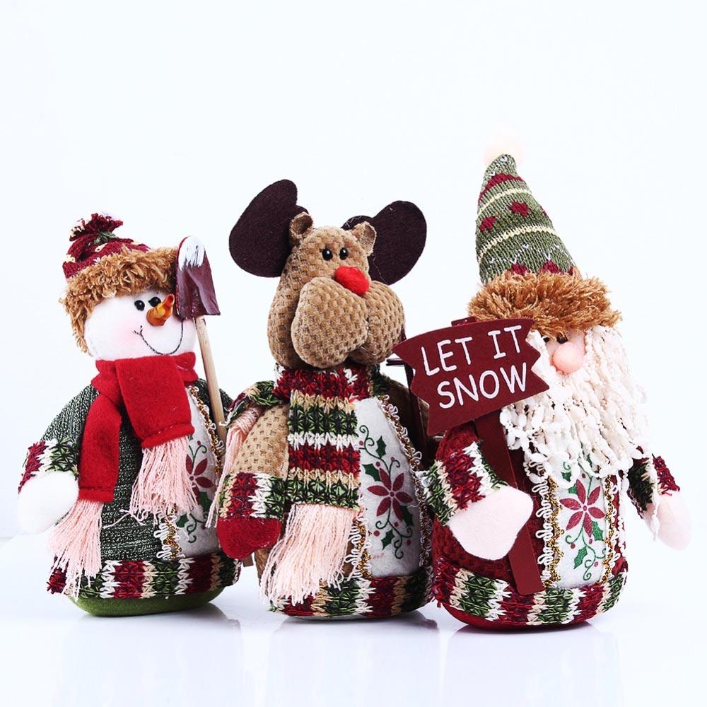 Belle poupée de père Noël / bonhomme de neige / renne debout pour le cadeau de Noël