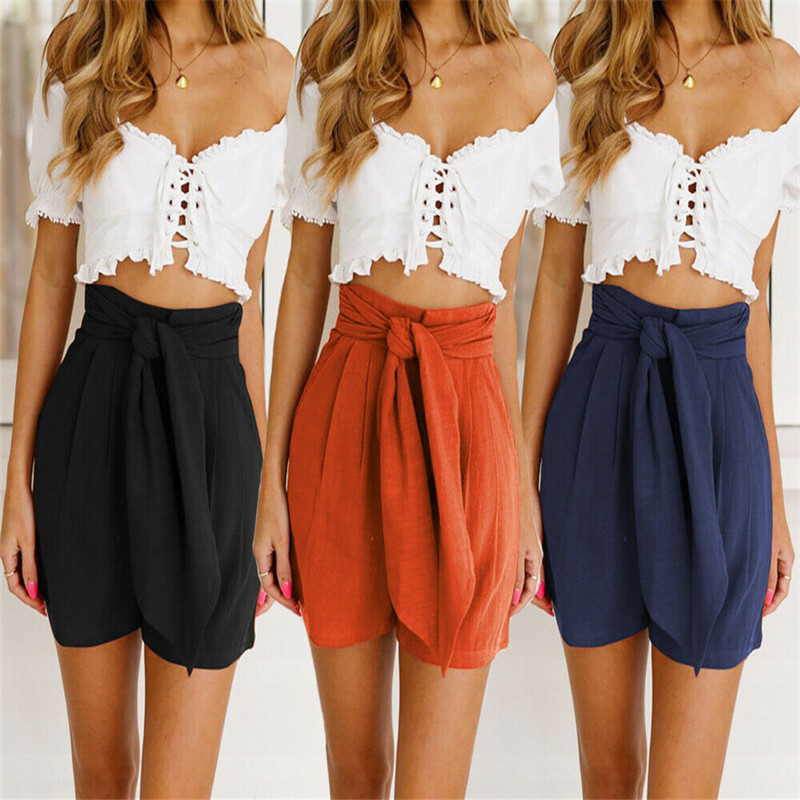 Women Summer Stylish Loose Solid Color   Shorts   Belt Beach High Waist Bow Tie Wide Leg   Shorts
