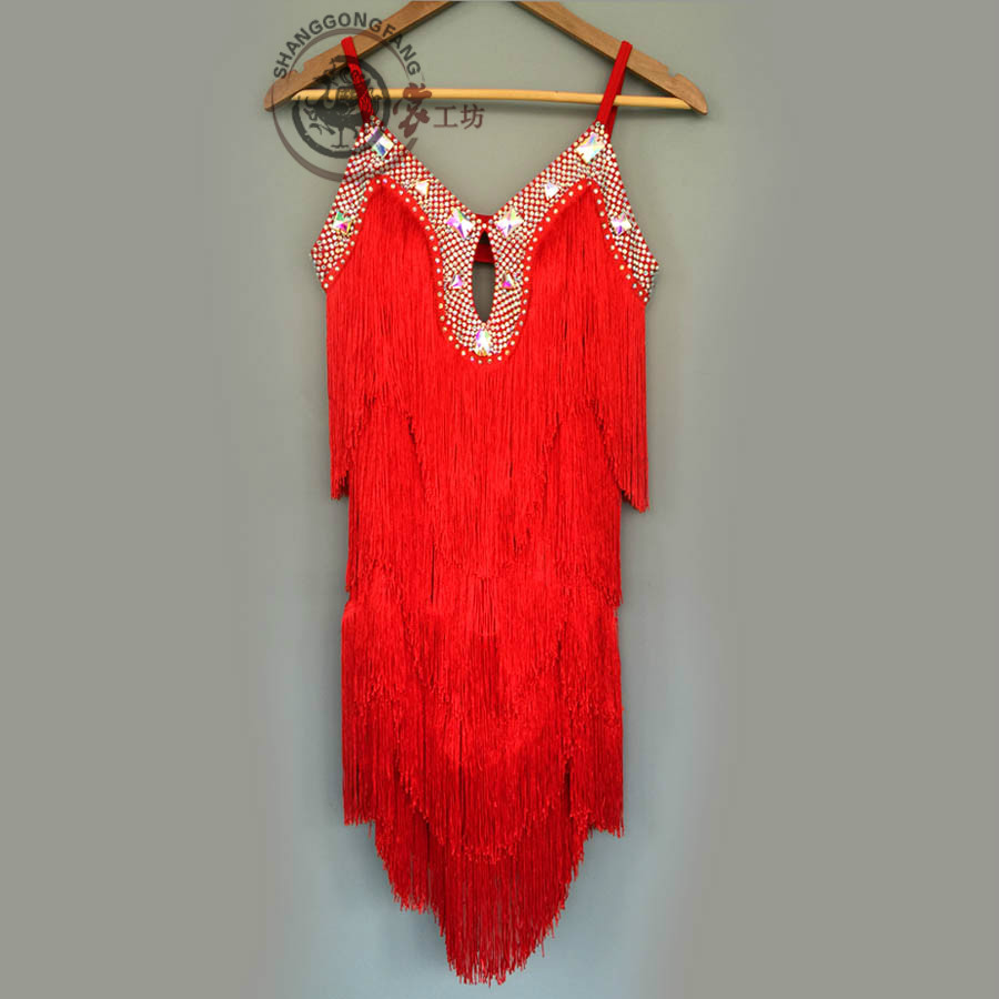 New style latin dance costume sexy stones tassel latin dance dress for women latin dance competition dresses A86 S-4XL