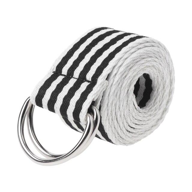 Cinturón hebilla de Metal doble anillos Nylon correa de lona pretina ocasional