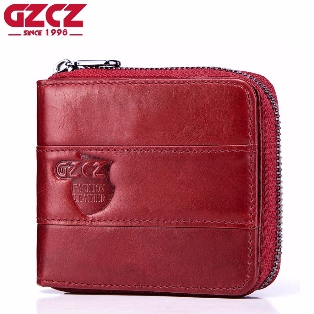 GZCZ Wallet Genuine Cow Leather Women Casual Solid Mini Wallets Short Zipper Design Coin Pocket Purse Card and Photo Holder New