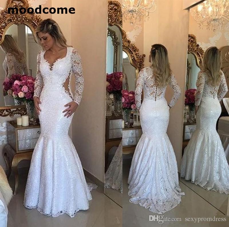 Elegant Two Pieces Lace Arab Wedding Dress Sheath 2017: Lace Long Sleeve Mermaid Wedding Dresses 2018 Elegant