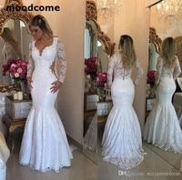 Lace Long Sleeve Mermaid Wedding Dresses 2018 Elegant Arabic Floor Length Bridal Vestidos Plus Size Back Covered Buttons Wedding
