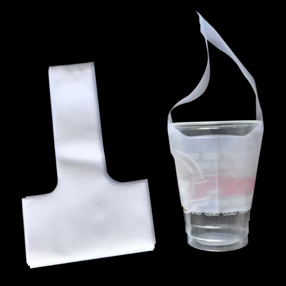 "300Pcs/Lot 12.5x23cm (4.9""x9"") T-Shaped Bayonet Carrier Bag One Cup Beverage Packaging Bag Clear Plastic Transparent Pack Pouch"