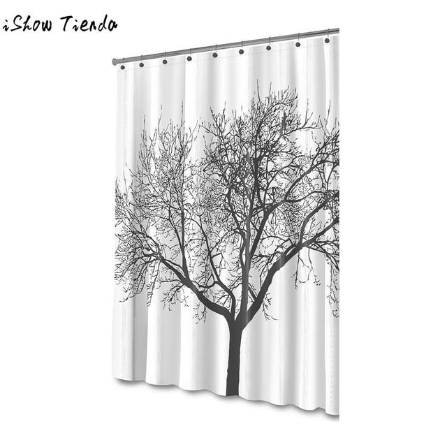 Mildew Resistant Shower Curtain Fabric Tree Design Bathroom Waterproof Odorless Eco Friendly Anti Bacterial 72x72