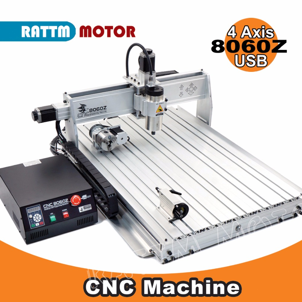 EU Delivery! 4Axis CNC 8060Z USB Mach3 2200W Router Machine 2.2kw Router Engraver/Engraving Drilling and milling Mahcine 220VAC cnc 3020t d300 4axis router drilling and milling machine