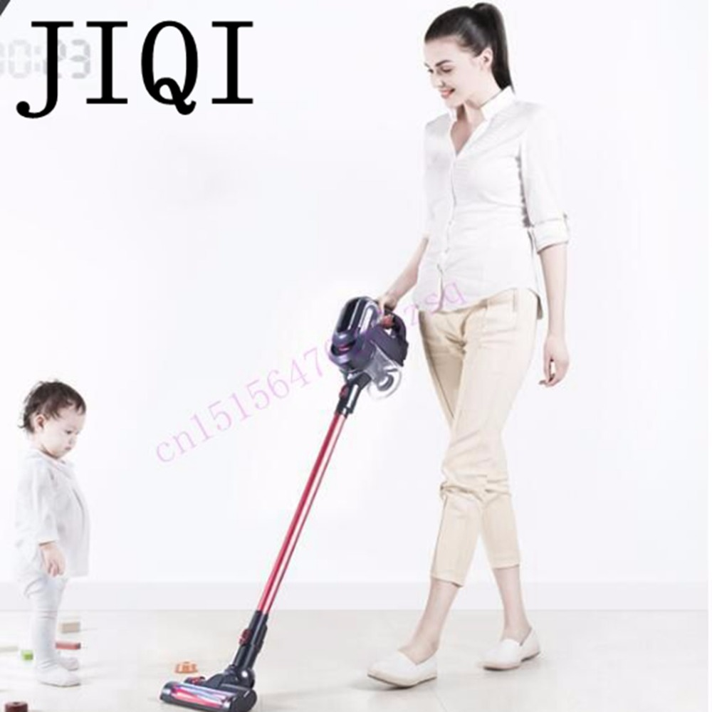 JIQI wireless Vacuum cleaner household Hand push rod Ultra quiet <font><b>carpet</b></font> small powerful wireless charger for car or home