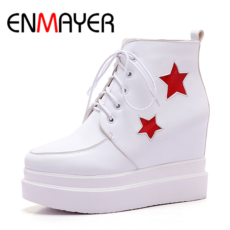 ФОТО ENMAYER New 3 Colors White Shoes Ankle Boots for Women High Heels Lace-up Spring Autumn & Winter Round Toe Boots Shoes Woman