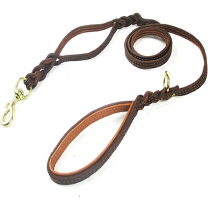 Image 3 - Braided Real Leather Dog Leash Double Handle pet Walking Training Leads Long Short rope for German Shepherd Medium Large Dogs
