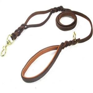 Image 3 - Trançado trela do cão de couro real dupla alça pet andando treinamento leva longa corda curta para pastor alemão médio grandes cães