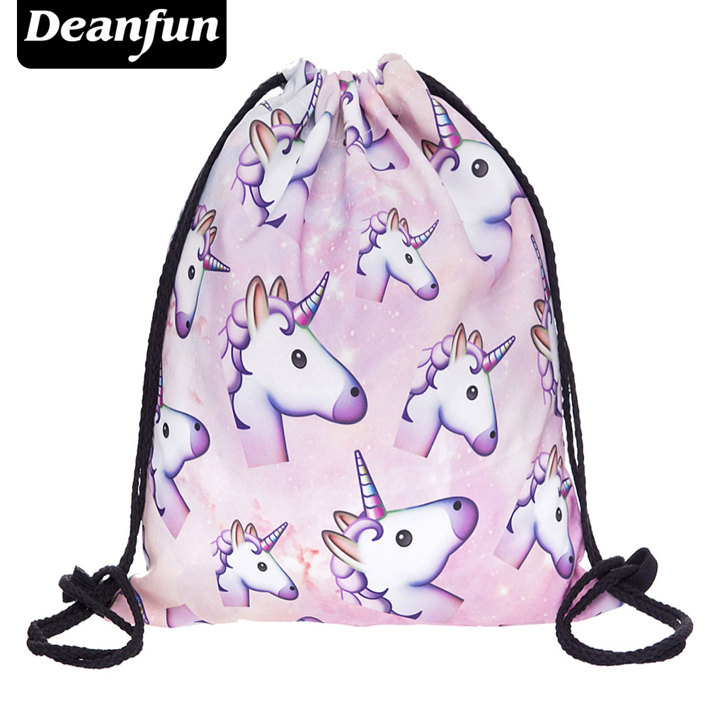 Deanfun 3D Printing Schoolbags Unicorn Pattern Women Drawstring Bag SKD90