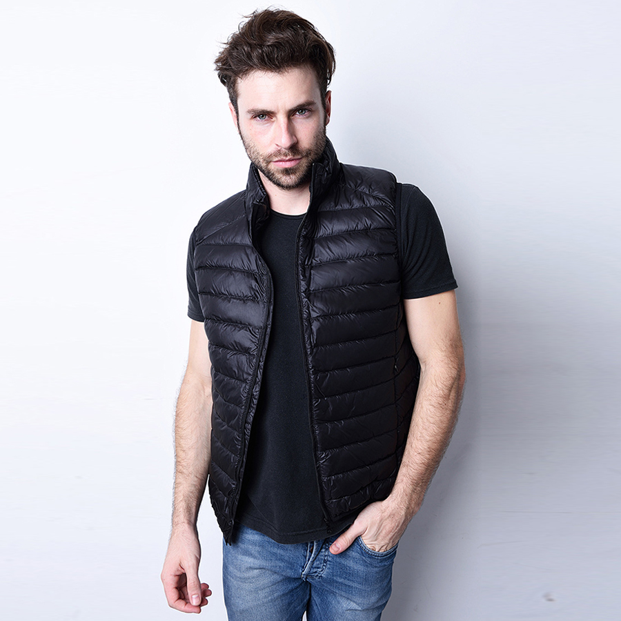 2016 Men Winter Autumn Down Vest Ultra Light Down Sleeveless Jacket Men Slim Brand 90% White Duck Down Waistcoat Vest