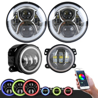 TNOOG Pair 7 Inch RGB Halo LED Round Multi Color Headlights Pair 4 Inch RGB Halo