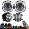 TNOOG Pair 7 Inch RGB Halo LED Round Multi Color Headlights Pair 4 Inch RGB Halo
