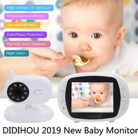 Video Baby Monitor Surveillance Security Camera Babys 2.4G Wireless With 3.5 Inches LCD 2 Way Audio Talk Night Vision