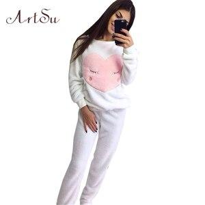 Image 4 - ArtSu новая зимняя утепленная Пижама с милой совой коралловой флисовой подкладкой, домашний костюм, коралловый бархат Главная Одежда для отдыха 9123