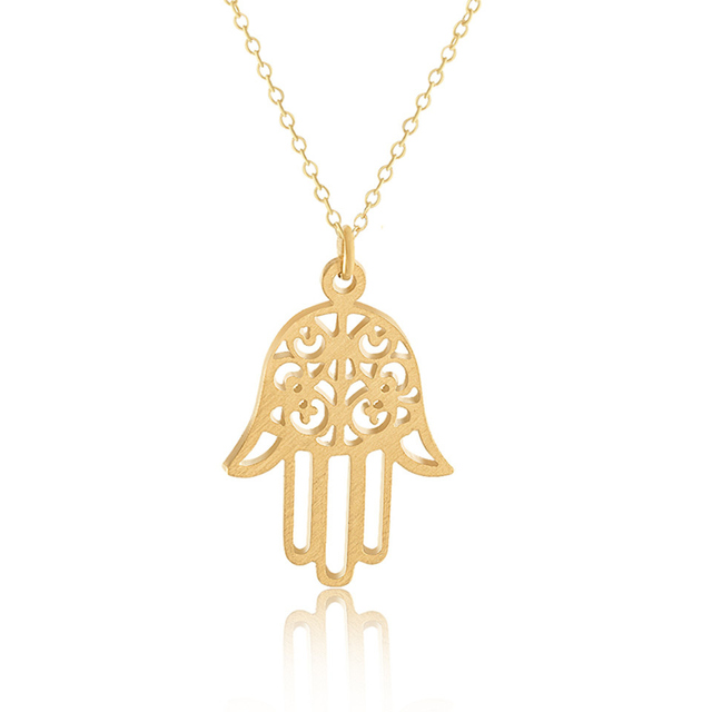 Gold Color Fatima Hand Necklace Turkish Jewish Jewelry Stainless