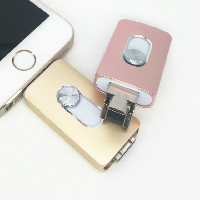 Lo nuevo i-flash iflash drive 64 gb hd interfaz u-disco micro usb 3 en 1 para android/iphone 5/6/5s/6 plus ipad ipod/pc/mac 8/16/32