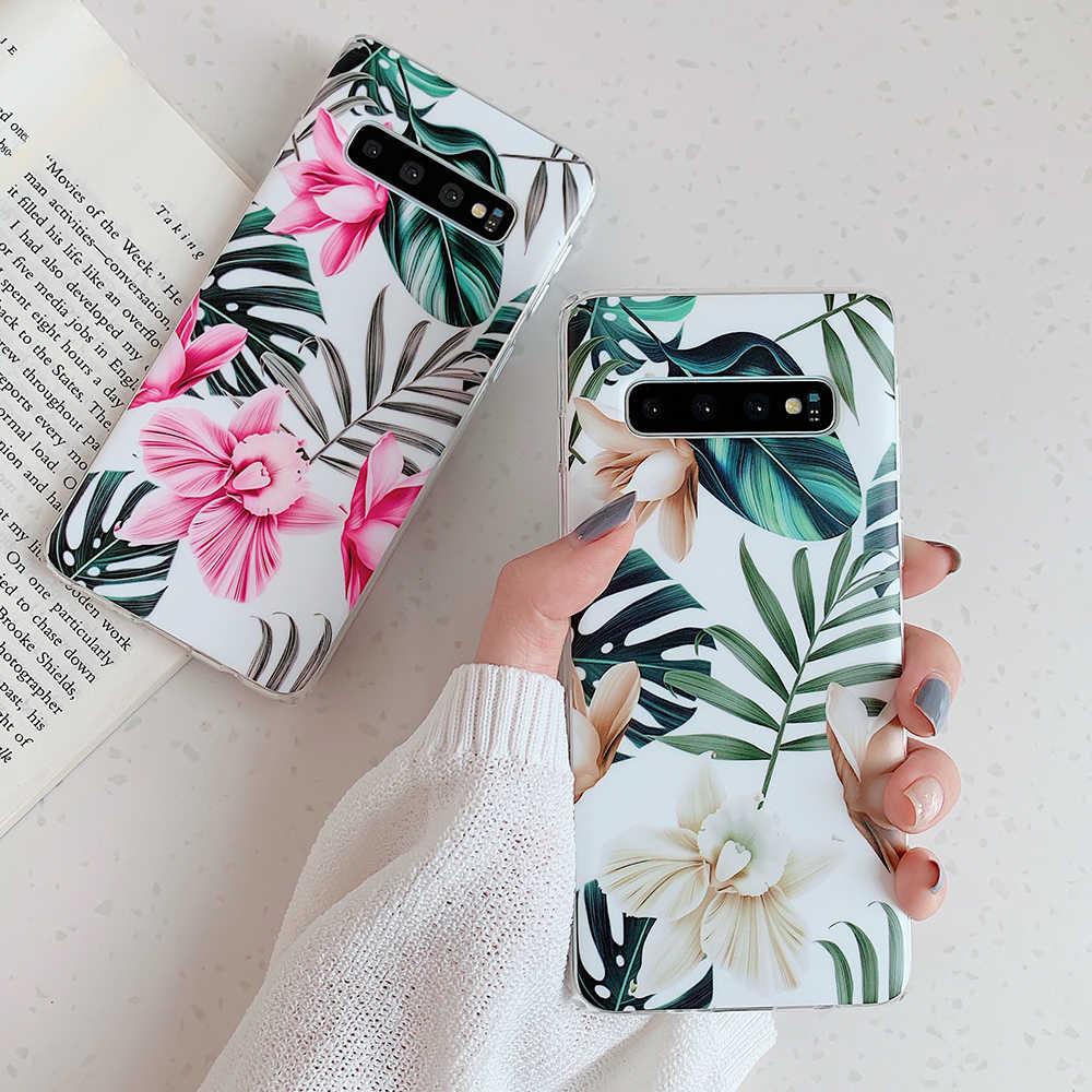 Retro Çiçek ve Yaprak Telefon Kılıfları Samsung Galaxy A50 A40 A70 S8 S9 S10 Artı S10e Yumuşak IMD Darbeye Dayanıklı telefon arka kapak