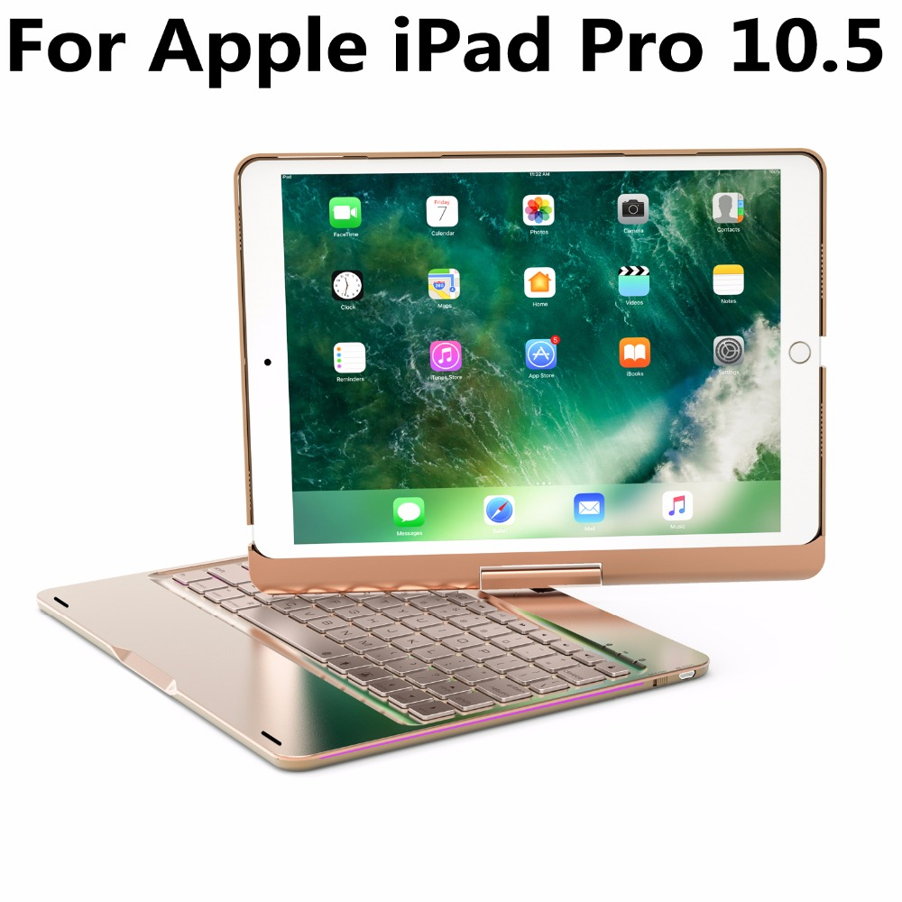 360 Degree Rotating Aluminum Wireless Bluetooth Keyboard Cover Case for Apple iPad Pro 10.5 2017 A1701 A1709 Funda Tablet Shell tablet cover for ipad pro 10 5 inch detachable bluetooth keyboard case for 2017 ipad 10 5 a1701 a1709 stand cases