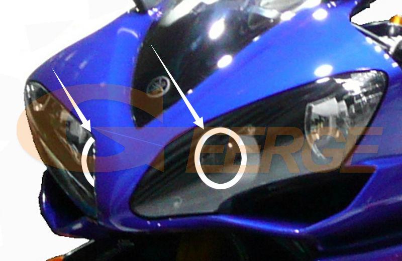 Для Yamaha YZF-R 2007 2008 отличное качество ангельские глазки ультра яркая фара освещение CCFL ангельские глазки комплект Halo Кольцо