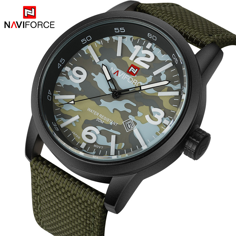 NAVIFORCE Original Luxury Brand Sports Military Quartz Watch Man Analog Date Clock Nylon Strap Wristwatch Relogio Masculino naviforce original luxury brand men sports military quartz watch man analog date clock nylon strap wristwatch relogio masculino