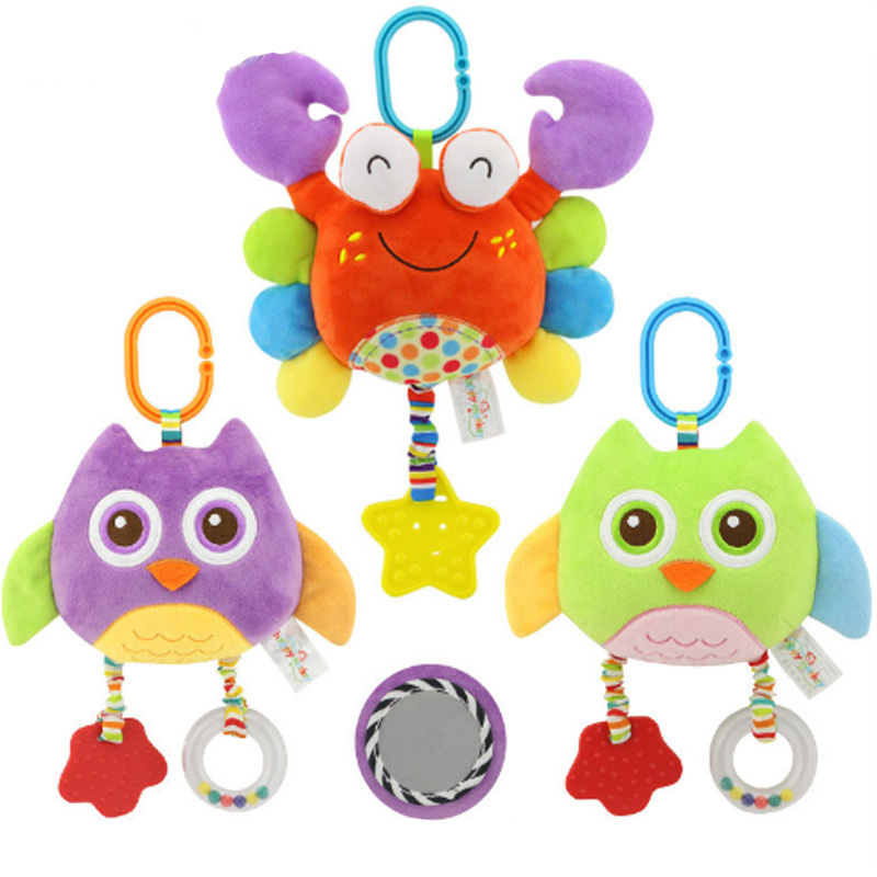 Baby Stroller Pendant Plush Fish Cartoon Mirror Pacifier Hanging Bed Cute Toys Soft Squeaky Rattle Newborn Sleeping Infant Kids Strollers Accessories Activity & Gear