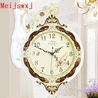 Double sided Wall Clock Meijswxj Saat Reloj Wood Digital Clock Relogio de parede Duvar Saati Horloge Murale Mute clocks watch