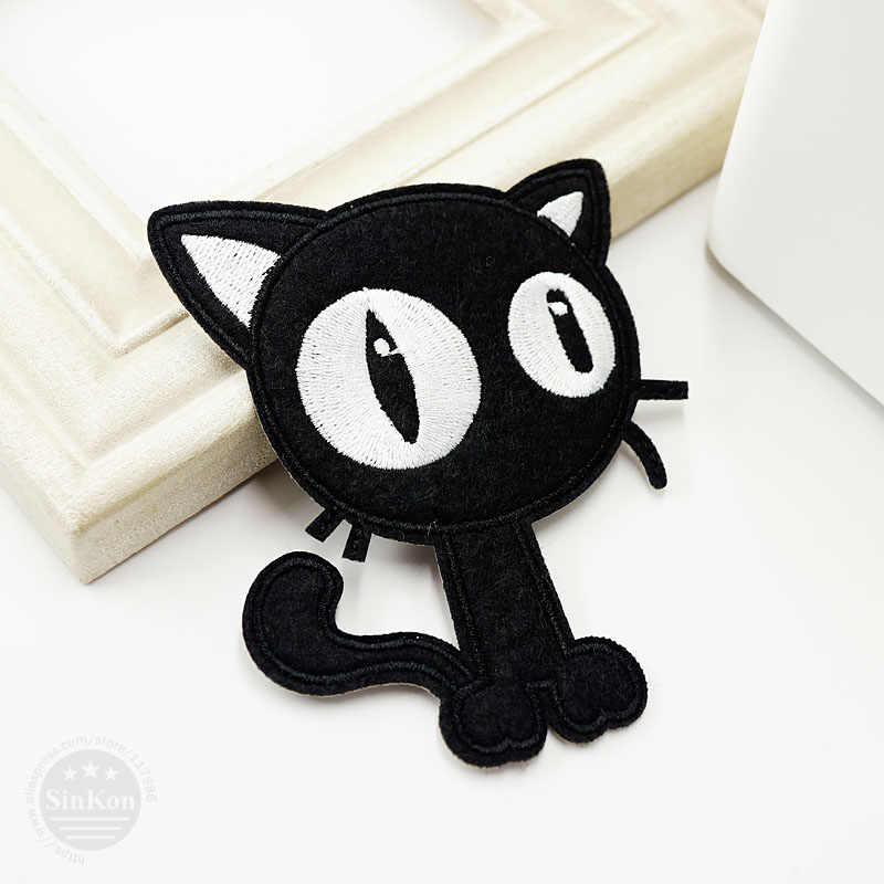 Gatto nero (Dimensioni: 7.7x9.6 cm) FAI DA TE Panno Badge Mend Decorare Patch Jeans Borsa Clothes Apparel cucito Decorazione Applique Patch