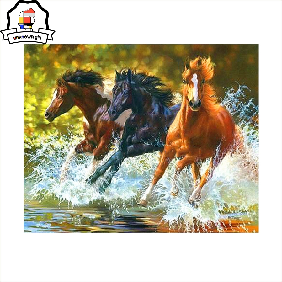 painting by numbers animals Running horse painting calligraphy diy oil pictures by number modern canvas printings SOWER