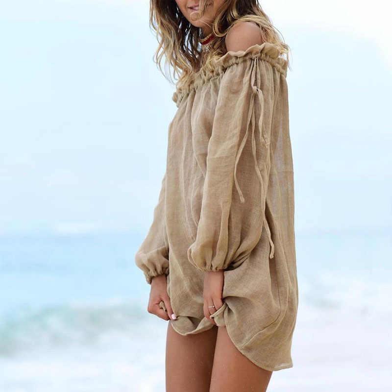 2019 קיץ כבוי כתף חוף שמלת נשים לחפות ארוך שרוול ביקיני סרונג טוניקות עבור נשים כיסוי קופצים קפטן חלוק דה plage