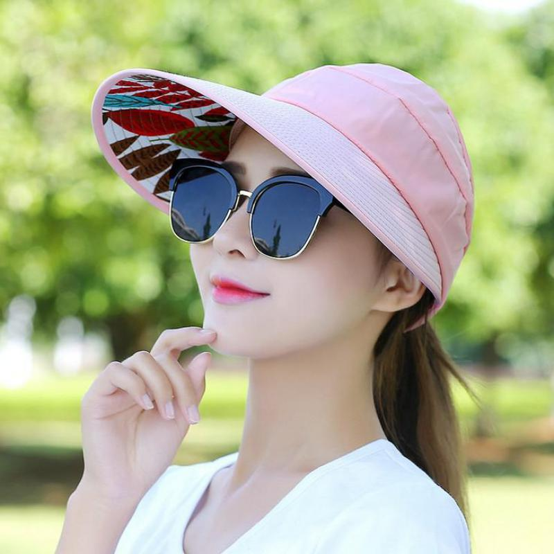 45b713ac COKK Summer Hats For Women Folding Foldable Uv Protection Sun Hat Visor  Suncreen Floppy Cap Chapeau Femme Outdoor Beach Hat New-in Sun Hats from  Apparel ...
