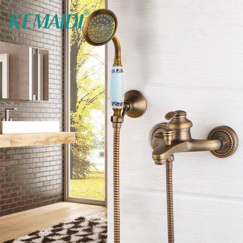 KEMAIDI Style européen Antique ensemble de douche salle de bain mural en cuivre laiton robinet de douche élégant baignoire douche grue