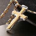 Cross Necklace Women/Men Stainless Jewelry Wholesale Trendy 18K Real Gold Plated INRI Crucifix Jesus Piece Cross Pendant