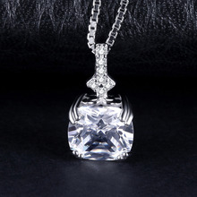 Vintage 3ct Cushion-Cut Cubic Zirconia Female Pendant Fashion 925 Sterling Silver Accessories Not Include A Chain