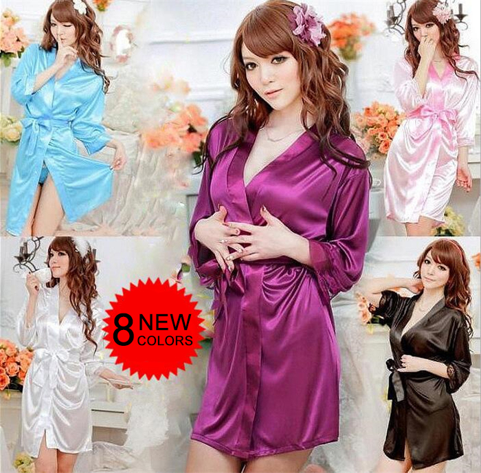 COSWE Robe Bathrobe, Sexy Silk Kimono Nightwear Lingerie Lace Nightgown Sex Costumes Erotic Bath Robes Dressing Gown