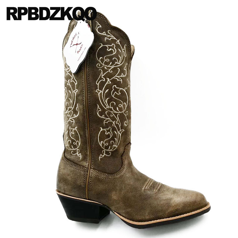 Bout Qualité girl Chunky Pointu Hommes Pleine Bottes Cuir Chaussures Brodé Marron Fleur mollet En Western Grand Haute Cow Mi De Cowboy Véritable CreWodxB