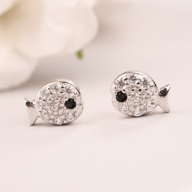 Pure 925 Sterling Silver Earrings Cute Fish Stud For Women Fashion Kids Statement