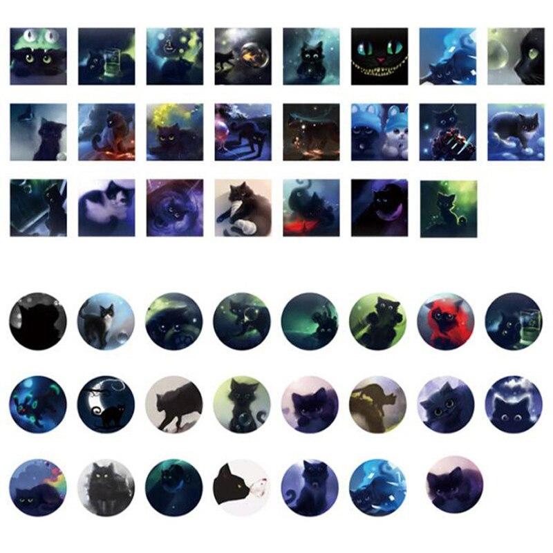 Купить с кэшбэком 46PCS/pack Star Sky Black Cats Diary Paper Stickers Kawaii Planner Scrapbooking Sticky Stationery Escolar School Supplies