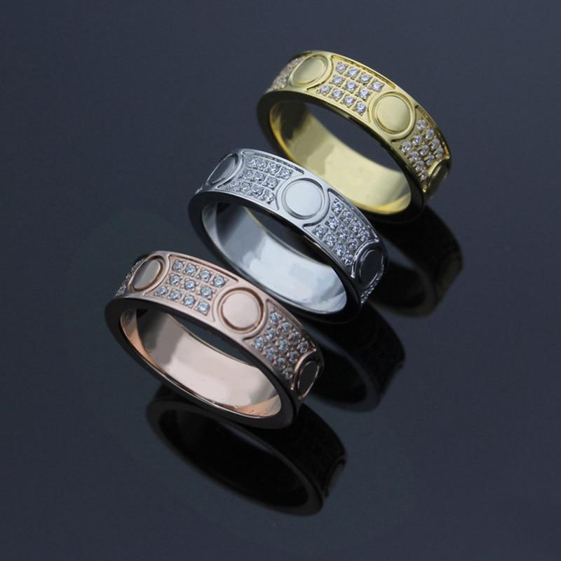 High Quality 316L titanium steel Full CZ screw carter love rings for women men wedding jewelry Pulseira feminina Wholesale