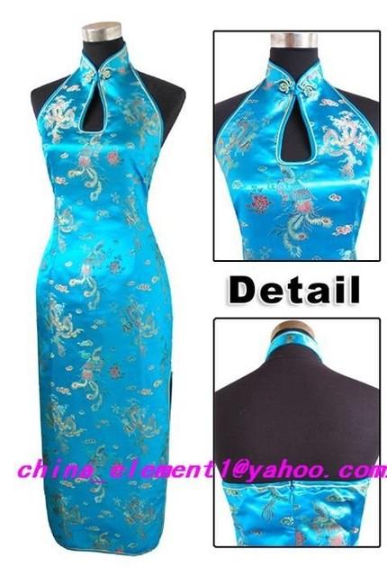 Sexy Blue Halter Backless Prom Gown Dress Women's Silk Satin Dripping Cheongsam Qipao Top Floral Size S M L XL XXL XXXL WC064