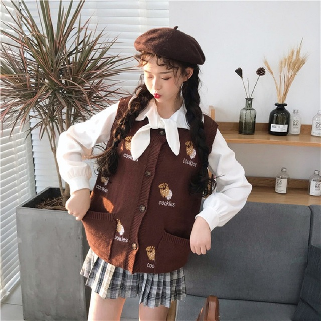 ed269cb927b Japanese Autumn Winter Preppy Style Women Sweater Cookies Biscuit Knitted  Vest Cute Kawaii Sleeveless Pockets Cardigan Outerwear ...