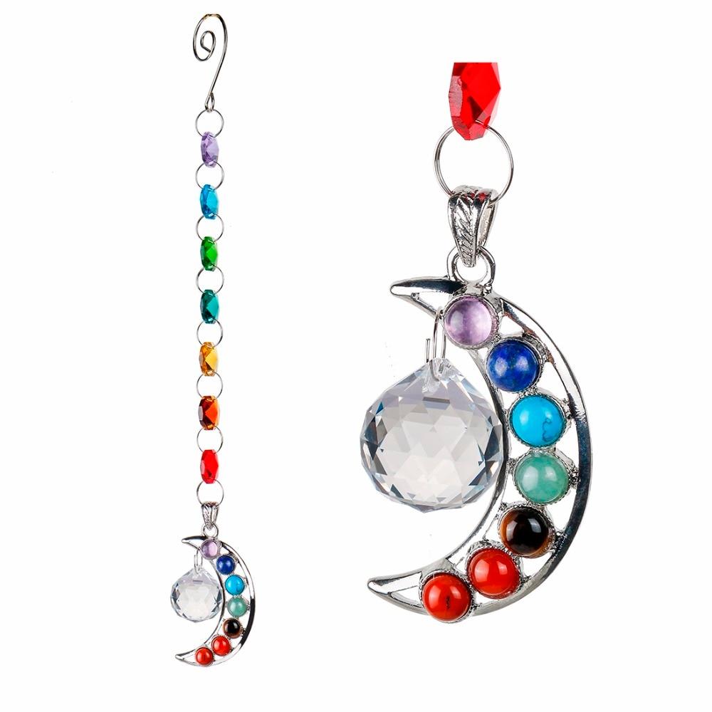 10 pulgadas colgante chakra suncatcher cristalino Piedra Natural Luna cristal PRISM Ball media luna Arco Iris hecho a mano bola del péndulo colgante