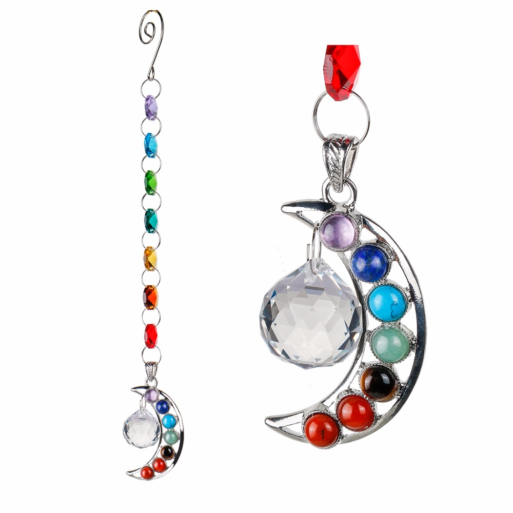 10inch Hanging Chakra Crystal Suncatcher Natural Stone Moon Crystal Prism Ball Half-moon ...